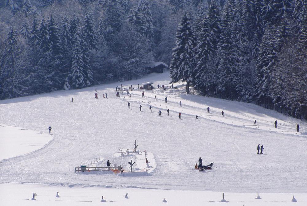 Skifahren in der Winterlandschaft des Skigebiets Hirschberglifte - © Hirschberglifte Kreuth