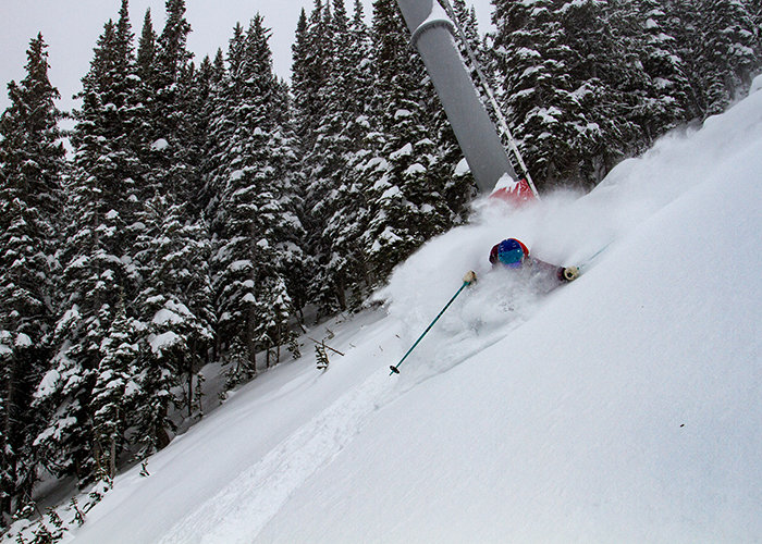 Jess McMillan finds deepness under the Thunder lift. - © Courtesy of Jackson Hole Mountain Resort