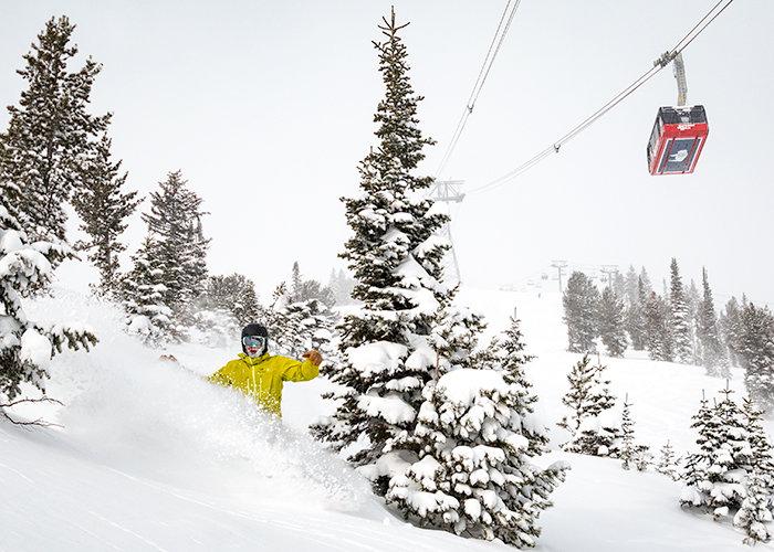 DJ entering bliss under the Aerial Tram. - © Courtesy of Jackson Hole Mountain Resort
