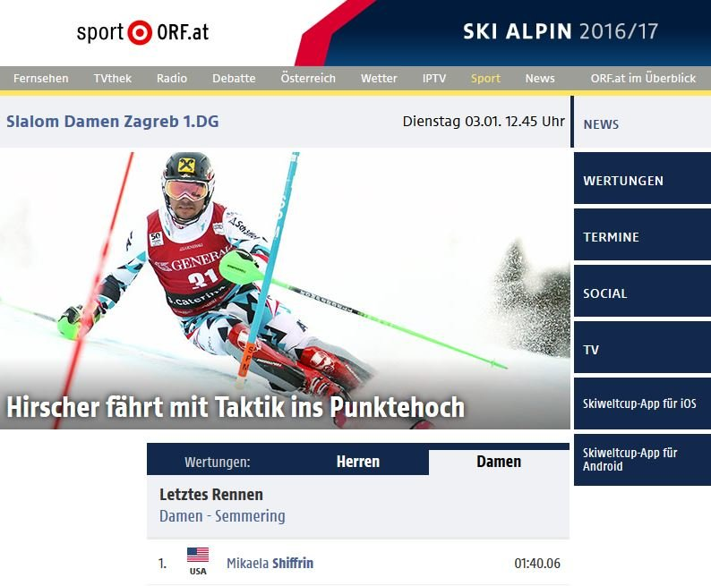 Skifahrer App Nr.2: ORF Ski Alpin App – Alpine Skirennen im Livestream und wertvolle Hintergrundinformationen - © Screenshot orf.at