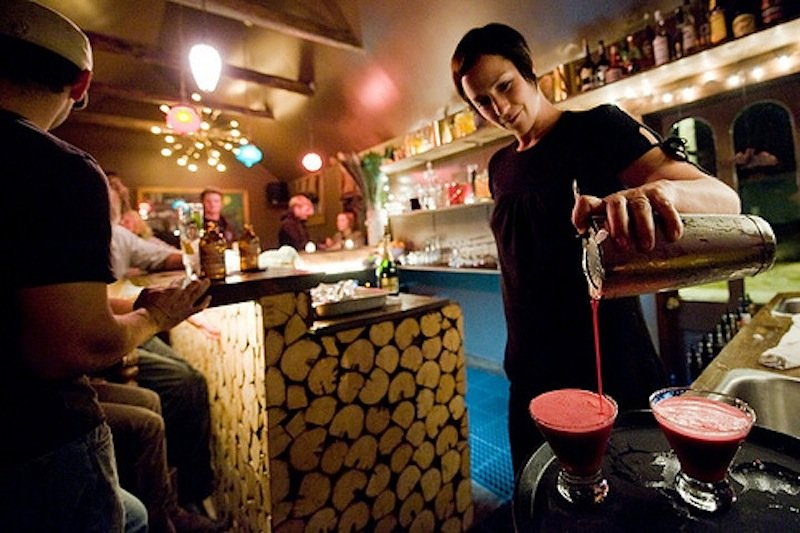 Mixologist Phoebe Pedersen is a mad scientist behind the bar at the Dogwood. - © Dogwood Cocktail Cabin