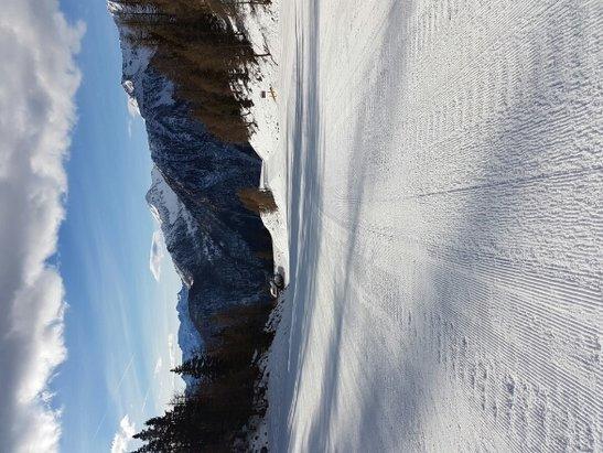 Pejo - neve molle con tratti ghiacciati  preferibile s iare alle 9  troppo caldo - © Anonimo