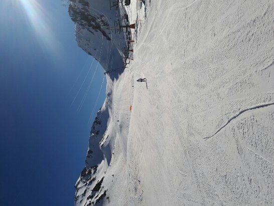 Baqueira - Beret - hasn't snowed for a few weeks, but 95% of runs still open, icy 1st thing then soft and heavy by lunchtime, but still plenty of fun to be had.   - ©Dan's phone