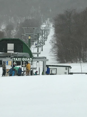 Jay Peak - Today at Jay, Thursday morning snowing and windy. We found some fresh powder in places!