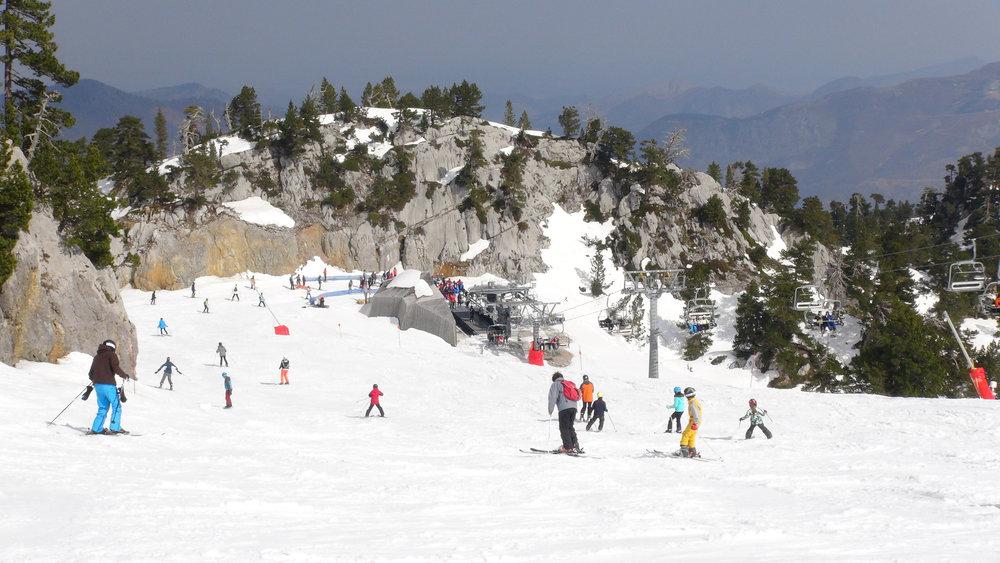 Décor caractéristique de la Pierre Saint Martin : des pistes de ski tracées au milieu du lapias et des pins à crochet - © Stéphane GIRAUD-GUIGUES / Skiinfo