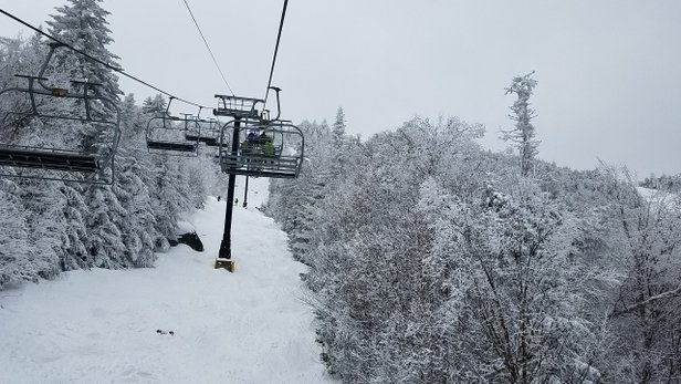 Gore Mountain - Another photo.  This is double barrel glade.  Rarely open at all let alone in Aprtil.   - ©summit_skier