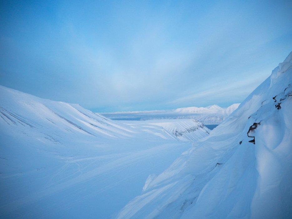 Landskapet på Svalbard er morenegrunn, med skarpe kanter og knauser, men ofte flate på toppen. - © Vigdis Skogly
