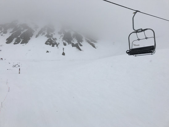 Arapahoe Basin Ski Area - Went on 5/7 and conditions were fairly well. Snow was a little bit slushy though. Thankfully it started to snow! Upper lift to the bowls also closed due to T-storms. - © Victoria Trujillo's iPho