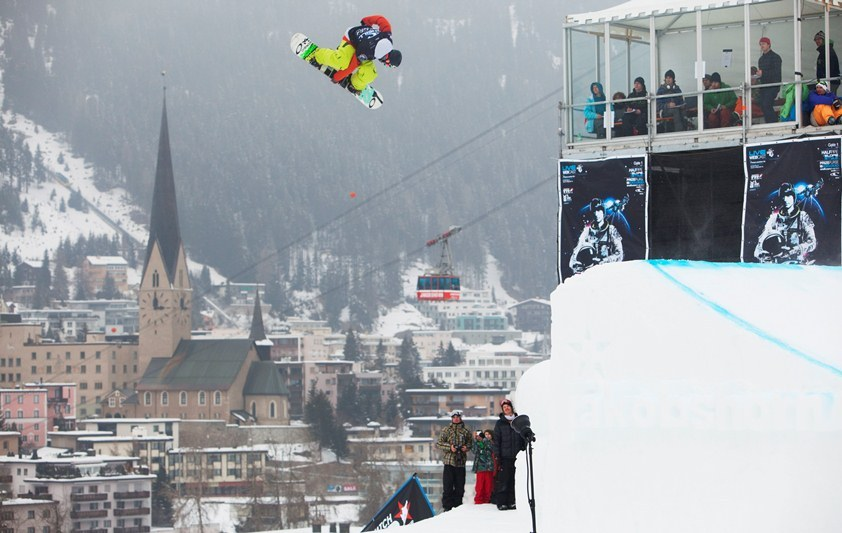 Freestyle snowboarder in Davos, Switzerland