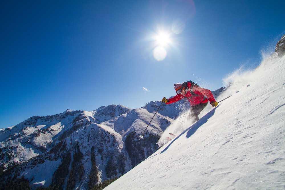 A Silverton Mountain skier scores some of the first powder turns of the season. - © Courtesy of Silverton Mountain