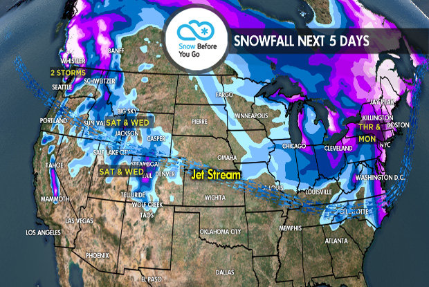 1.4 Snow Before You Go: Jet Stream Favors Both Coasts - © Meteorologist Chris Tomer