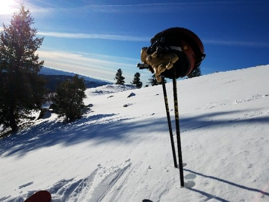 Bogus Basin - follow the sun and avoid the rocks. Still better than the east coast! - © anonymous