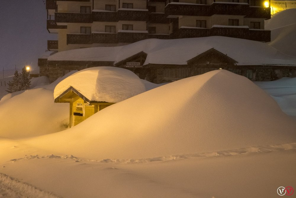 Huge snowfall in Val Thorens, Jan 4, 2018 - © facebook Val Thorens