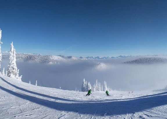 Whitefish Mountain Resort - Clouds down low, but sunny on top today.  We had a trace of snow to freshen up the dump from last weekend. - © JH