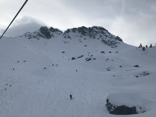 Whistler Blackcomb - Amazing conditions. 5-6 minute waits at mid mountain. Powder in spots and lumpy in others. 