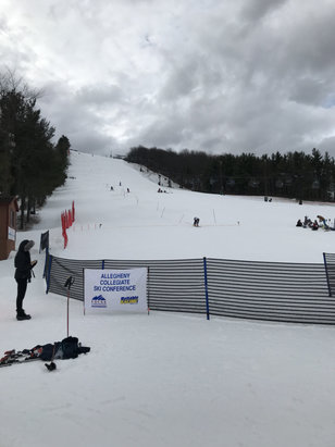 Wisp - Good conditions but snow is melting. Lift lines moving well. College race competition and Subaru party are looking great.  - © iPhone