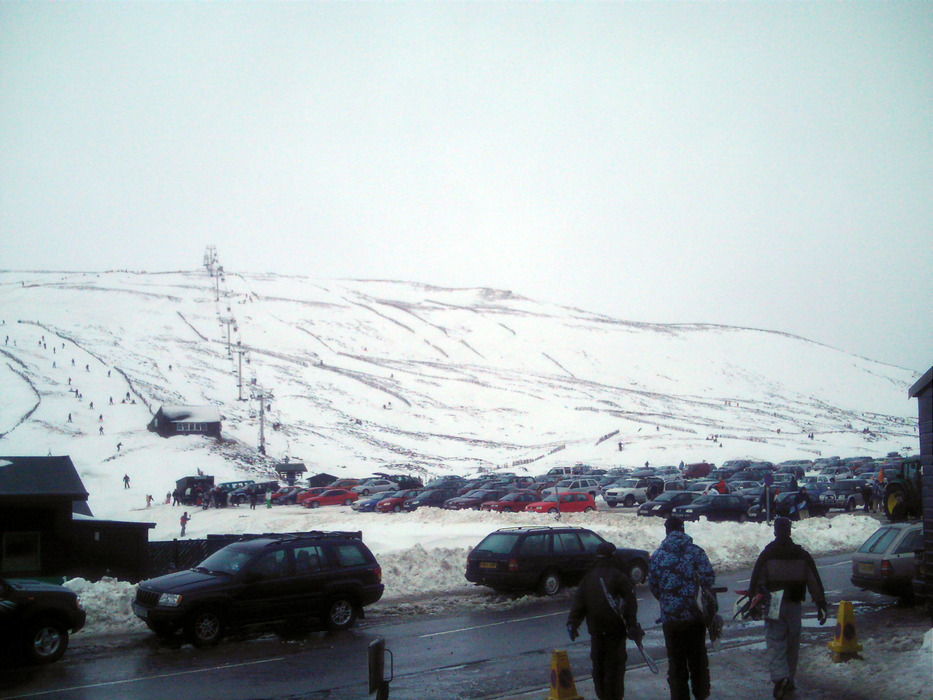 Crowded parking area at Glenshee, Scotland.
