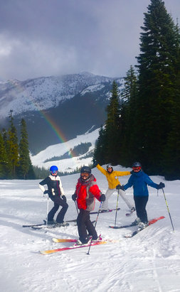 Crystal Mountain - Yesterday started in driving rain and ended on a rainbow. Tough mussels endured.  - © Wendy's iPhone