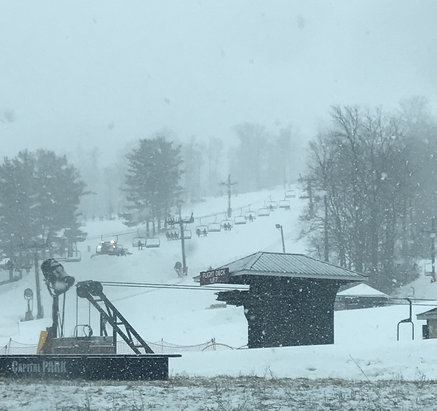 Mad River Mountain - Bam!  It's a wet big flakes morning.  There's football, but there's also this.  Playground looking good. - © SnowGirlofUnion