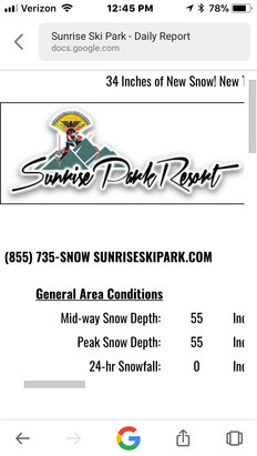 "Sunrise Park Resort - 34"" of new snow this week - © Drew's iPhone"