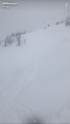 """Jackson Hole - 2-3"""" of blowing snow yesterday and then 6-8"""" of fresh powder from 3am to 6pm today. Jackson Hole delivers once again #BestConditionsIveEverHad  - © iPhone"""