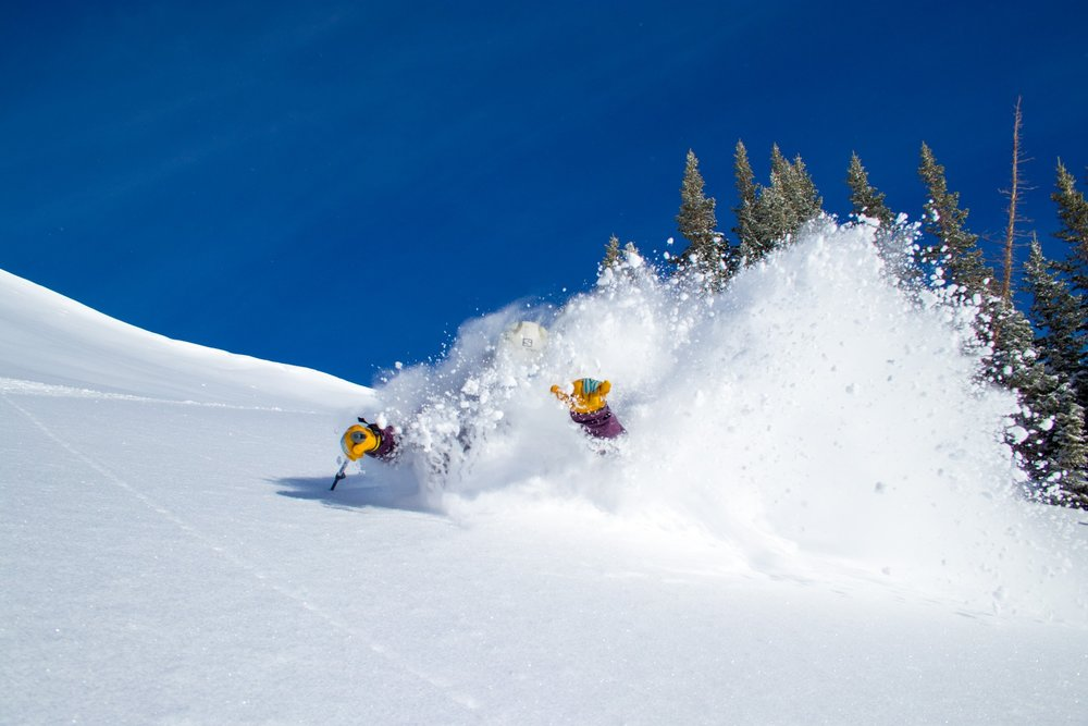 Who needs two poles when your hangin' loose and going deep? - © Jackson Hole