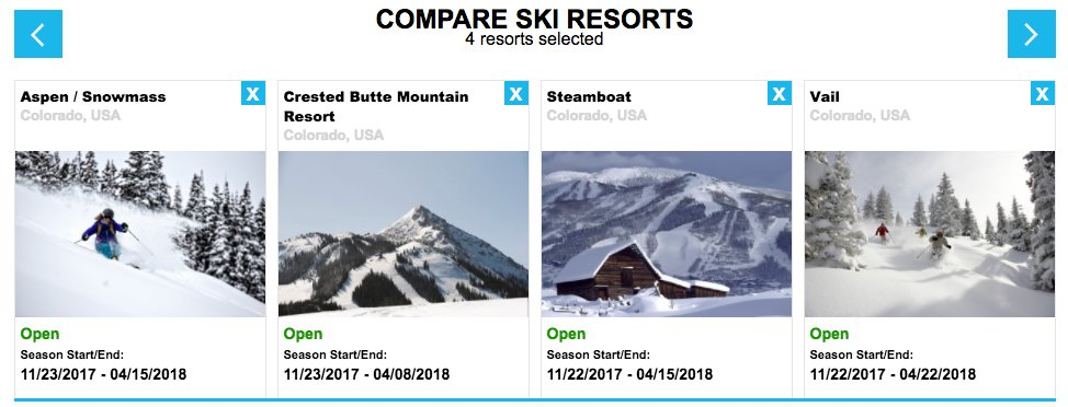 The new ski resort comparison tool from OnTheSnow.com allows visitors to compare up to 10 ski resorts at a time.