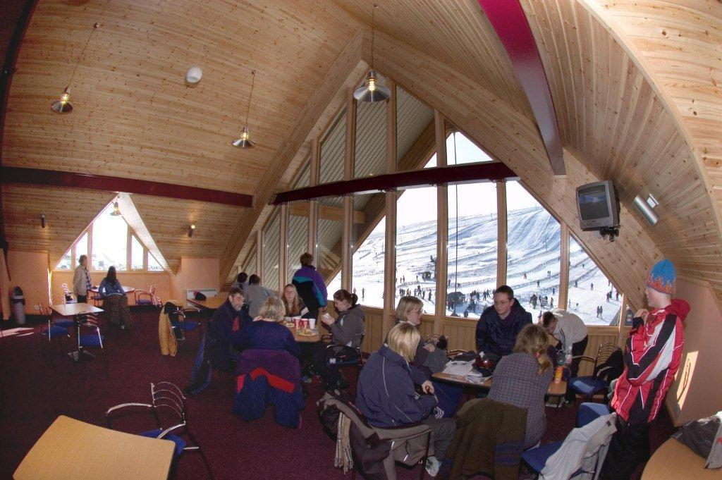 Inside the day lodge at The Lecht, Scotland.