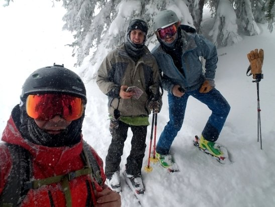 Grand Targhee Resort - Knee to near mid thigh plus  powder. Snowing all day. Freshies everywhere. Epic  - © Andy L.