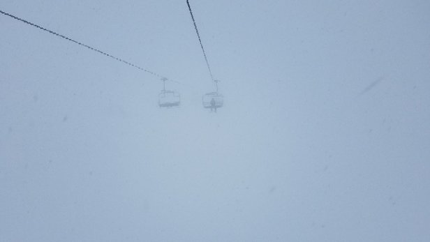 "Grand Targhee Resort - Not sure where they came up with 1"". It dumped today. Freshies all day!  They must have gotten at least 5-7"". - © anonymous"