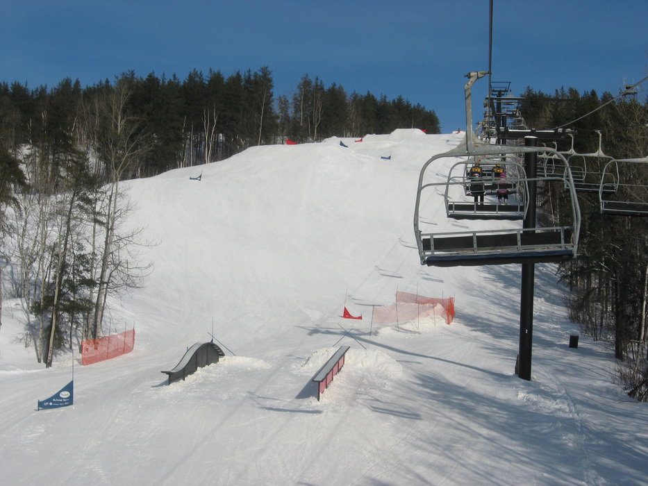 The terrain park can be seen from the lift at Horseshoe Resort, Ontario