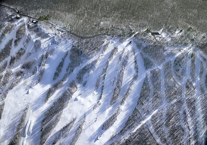An aerial view of the runs at Granite Peak, Wisconsin