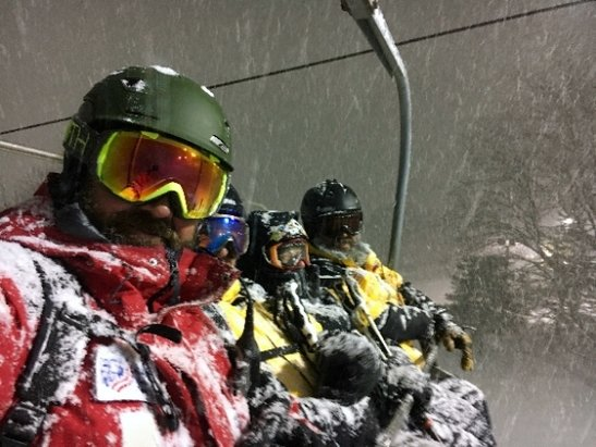 Holiday Valley - snowy night at the valley great time - © only 12 trails today it'