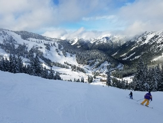 Stevens Pass Resort - Much better conditions than I expected. Very little ice. Coverage is great on piste. Even had some sun breaks. All the RFID gates were replaced with RFID hand scanners. - © anonymous