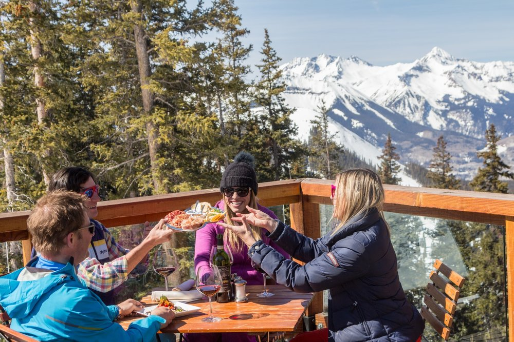 Alpino Vino is the highest restaurant in North America and serves up a bounty as delectable as the views. - © Visit Telluride/Ryan Bonneau