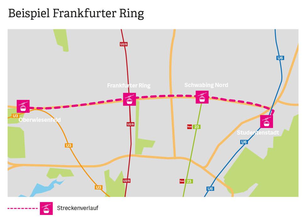 So könnte der Streckenverlauf einer Seilbahn in München aussehen - © Schörghuber Unternehmensgruppe