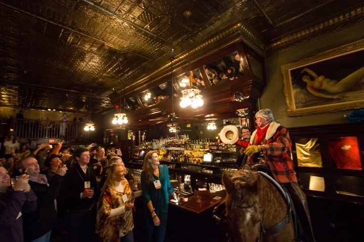 Long time local cowboy, Roudy Rodebush is known for his scenic horseback tours, cozy sleigh rides and of course his occasional appearance at the Sheridan Old Bar with one of his trusted horses, like Jesse here! - © Visit Telluride/Ryan Bonneau