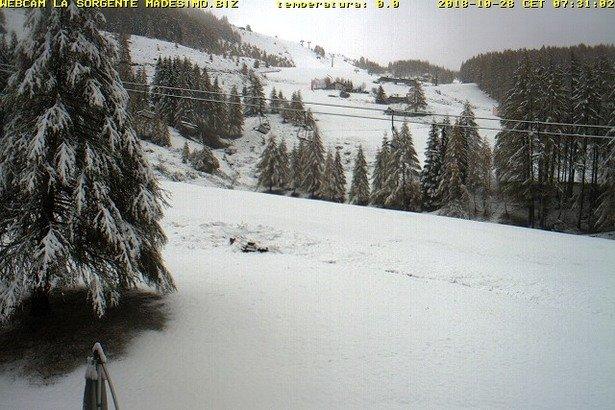 Madesimo - Neve fresca sulle Alpi 27-28 Ottobre 2018 - © Madesimo webcam