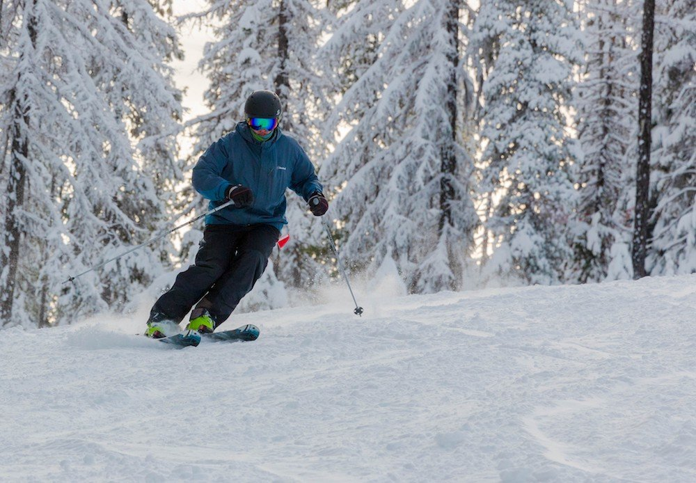 A Lookout Pass skier showing off the fresh snow on opening day. - © Matt Sawyer, Lookout Pass