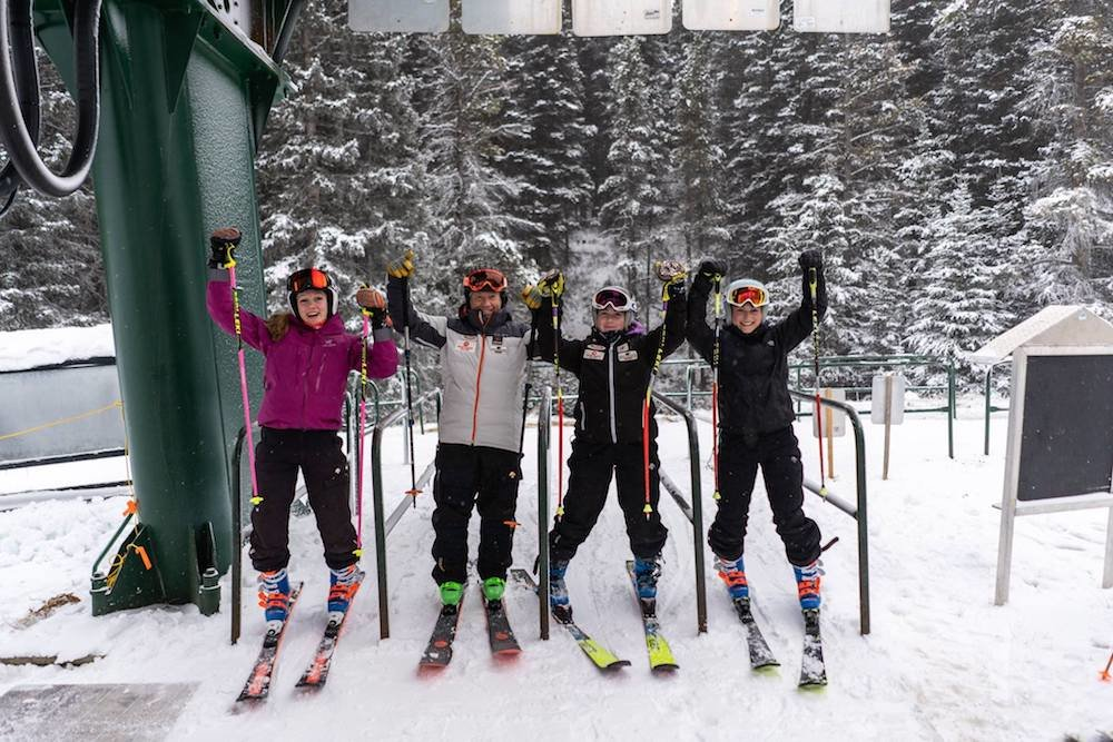 A handful of racers get ready to board the lift at Norquay's opening day. - © Mount Norquay