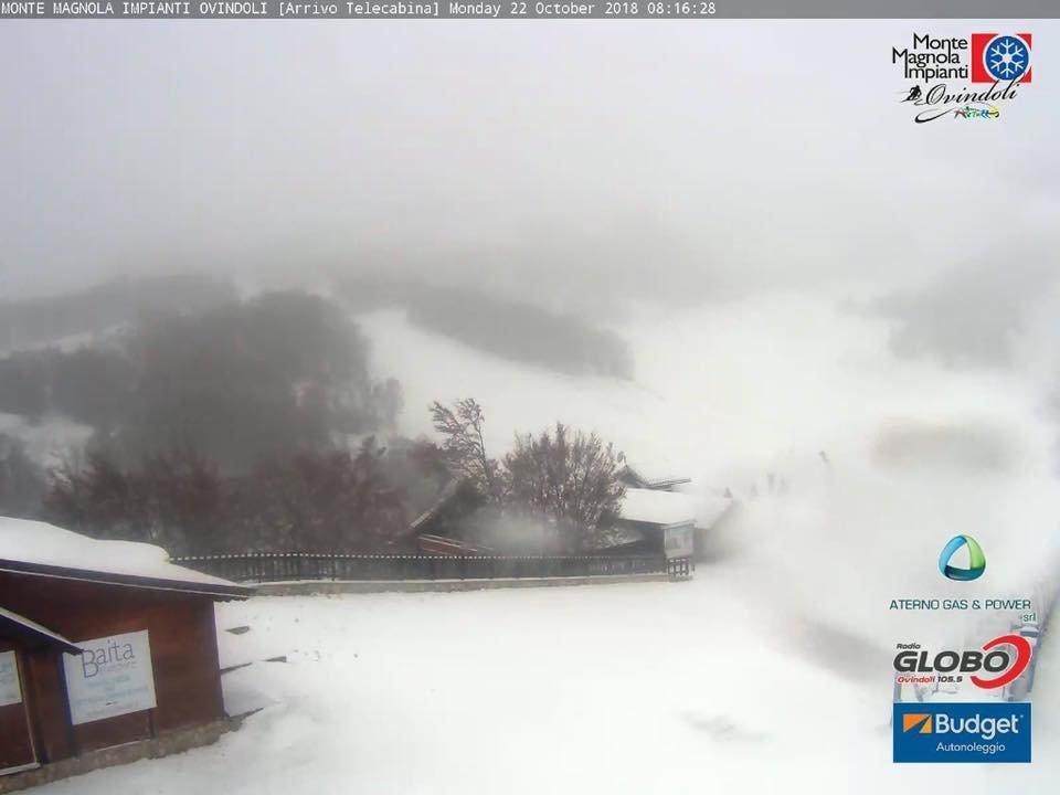 Prima neve in Abruzzo! Ovindoli, Monte Magnola 22.10.18 - © Ovindoli Monte Magnola Facebook