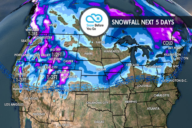 Tomer's Take for the Best Skiing This Weekend: Ski Whistler/Blackcomb on Thanksgiving, Aspen/Snowmass on Black Friday, Alta, Snowbird, Jackson Hole or Vail on Saturday, and Loveland, A-Basin or Steamboat on Sunday.   - © Meteorologist Chris Tomer