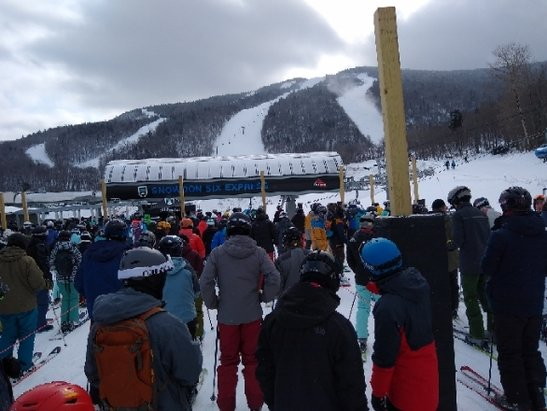 Killington Resort - Wow. C. R. O. W. D. E. D. Never seen lines like this at Snowdon. Rain hurt. Firm.  - © anonymous