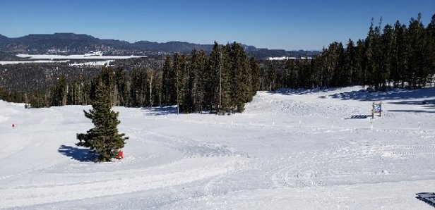 Angel Fire Resort - 4 Star Day. Beautiful blue sunny day. Good snow cover on open blacks and trails less traveled.  Glades good cover, fun. Some thin cover, stay watchful, but overall a good day. - © jls