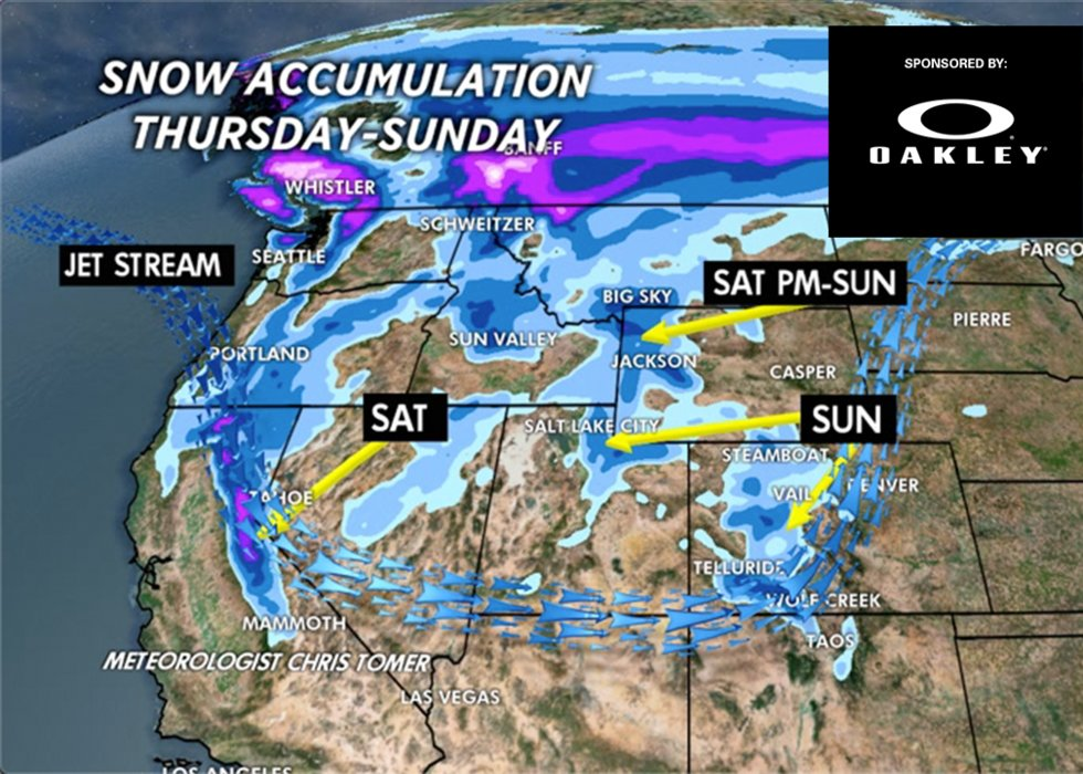 Weekly snow forecast by OnTheSnow meteorologist Chris Tomer. - © Meteorologist Chris Tomer
