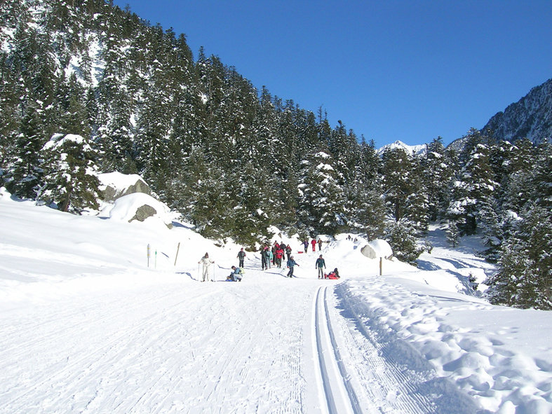 Cross country skiers at Cauterets, France