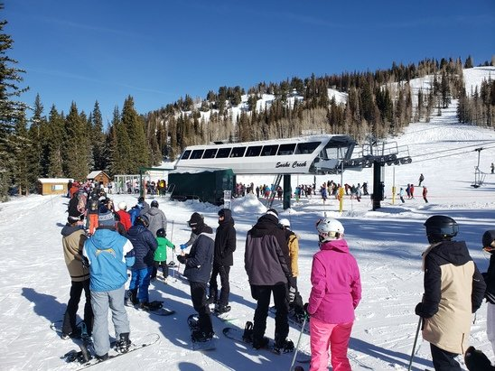 Brighton Resort - Snow was good but all lift lines were brutal. 20 minutes per lift until 330p on 1/6. Great Western will open tomorrow and should help.  - © Anonymous