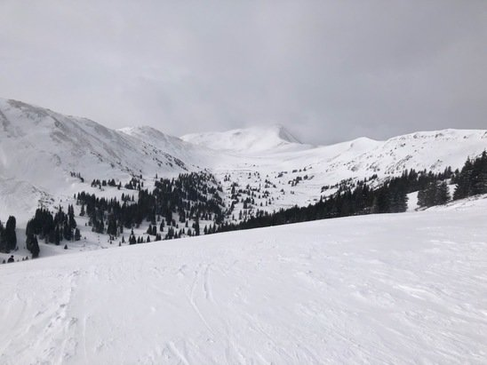 """Arapahoe Basin Ski Area - Powder bonanza! 6"""" upon arrival and 3 more by lunch.  Nothing off limits but visibility was poor on the top so finding your way was difficult.  Ended up with early injury but my companions, 1 of whom was a local,said it was best day of 4 we had done due to amount of terrain and bowls with snow fields below - © Boston bob"""