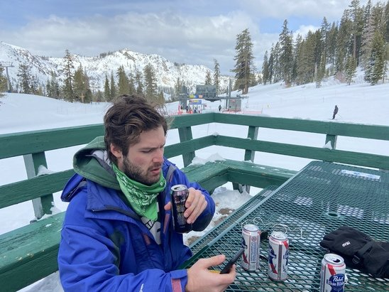 Squaw Valley Alpine Meadows - Crazy good snow, love this place.  Great snow coverage and 27 degrees.  A Pad enjoying the POW.  Brats and Potato Salad, awesome    - © P Daddy