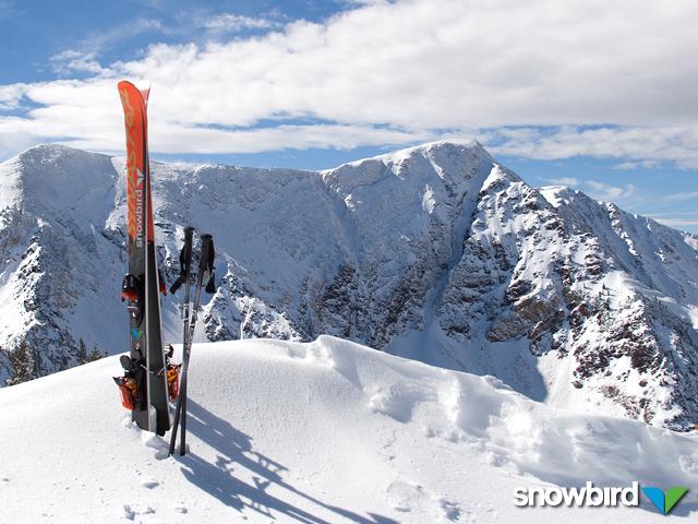 Sci e bastoni sulle cime di Snowbird, Utah